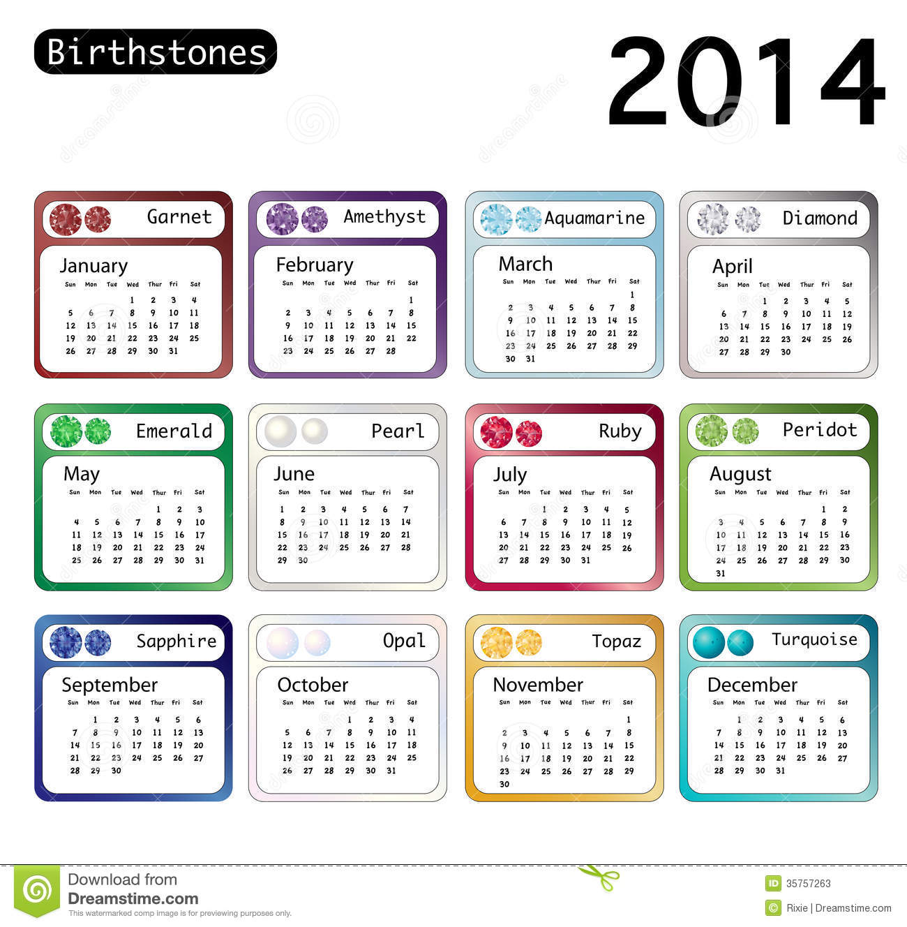 Birthstone Calendar 2014 Stock Illustration Image Of