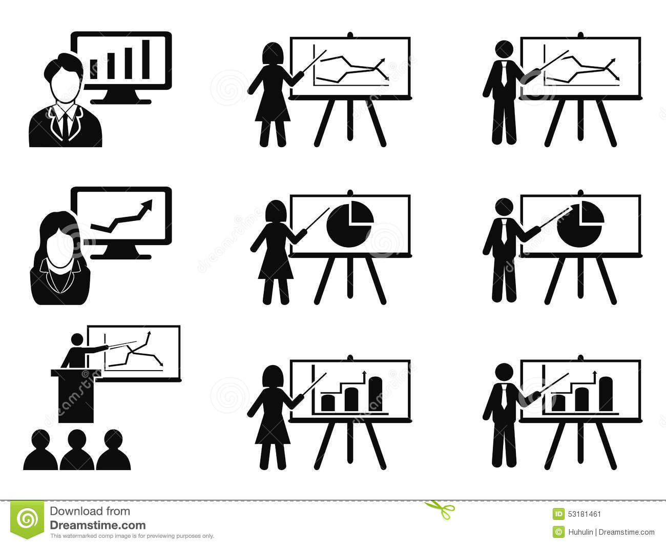 Black Business Lecture Seminar Meeting Presentation Icons