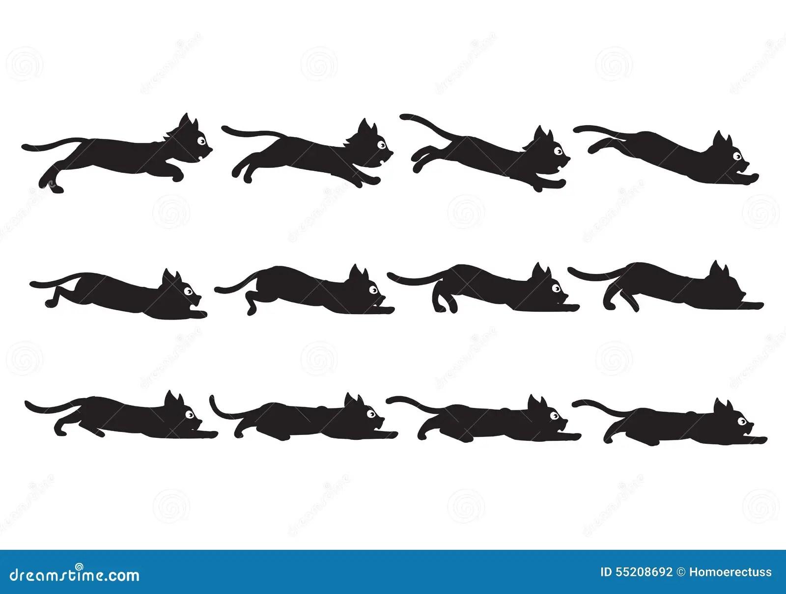 Black Cat Sliding Sprite Stock Vector