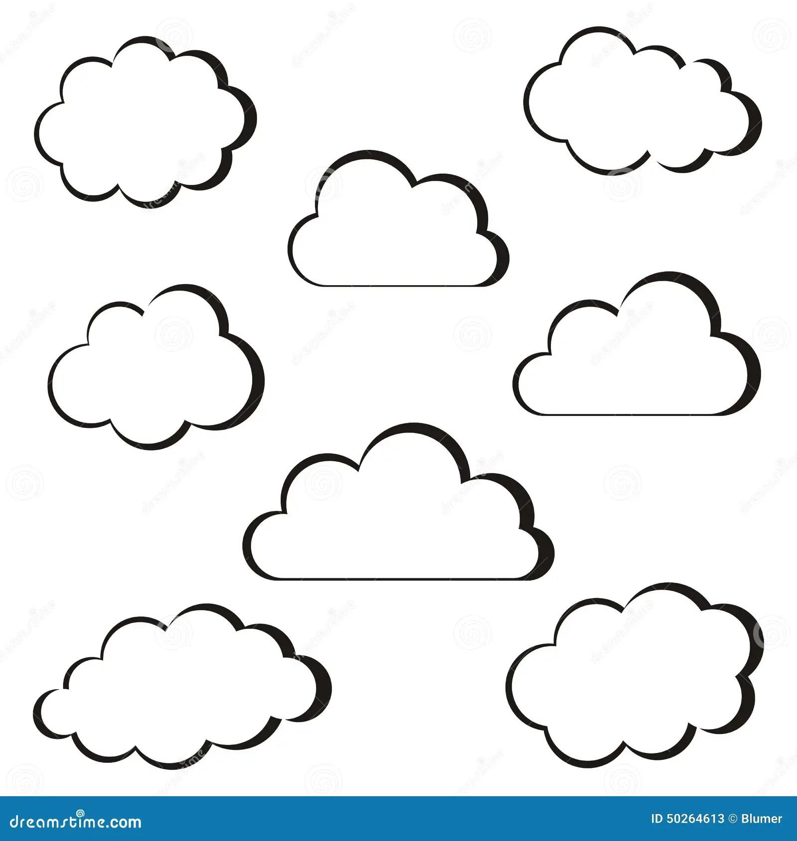 Black Clouds Outline Stock Vector Illustration Of