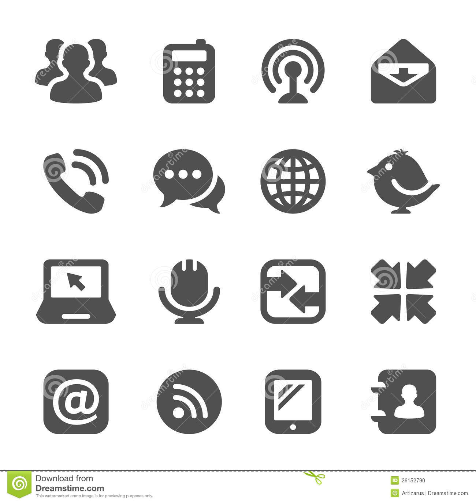 Black Communication Icons Stock Photo