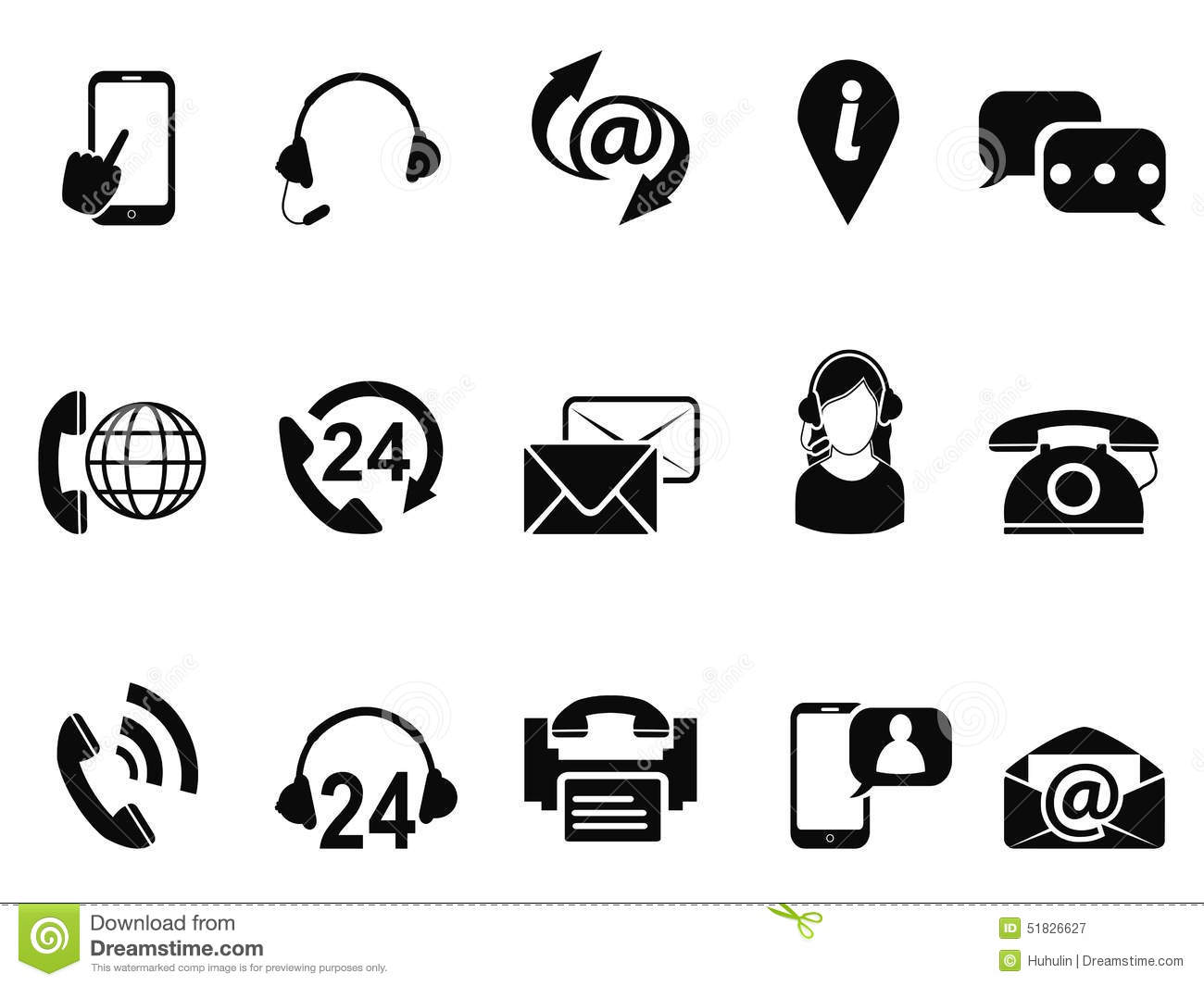 Black Contact Us Service Icons Set Stock Vector