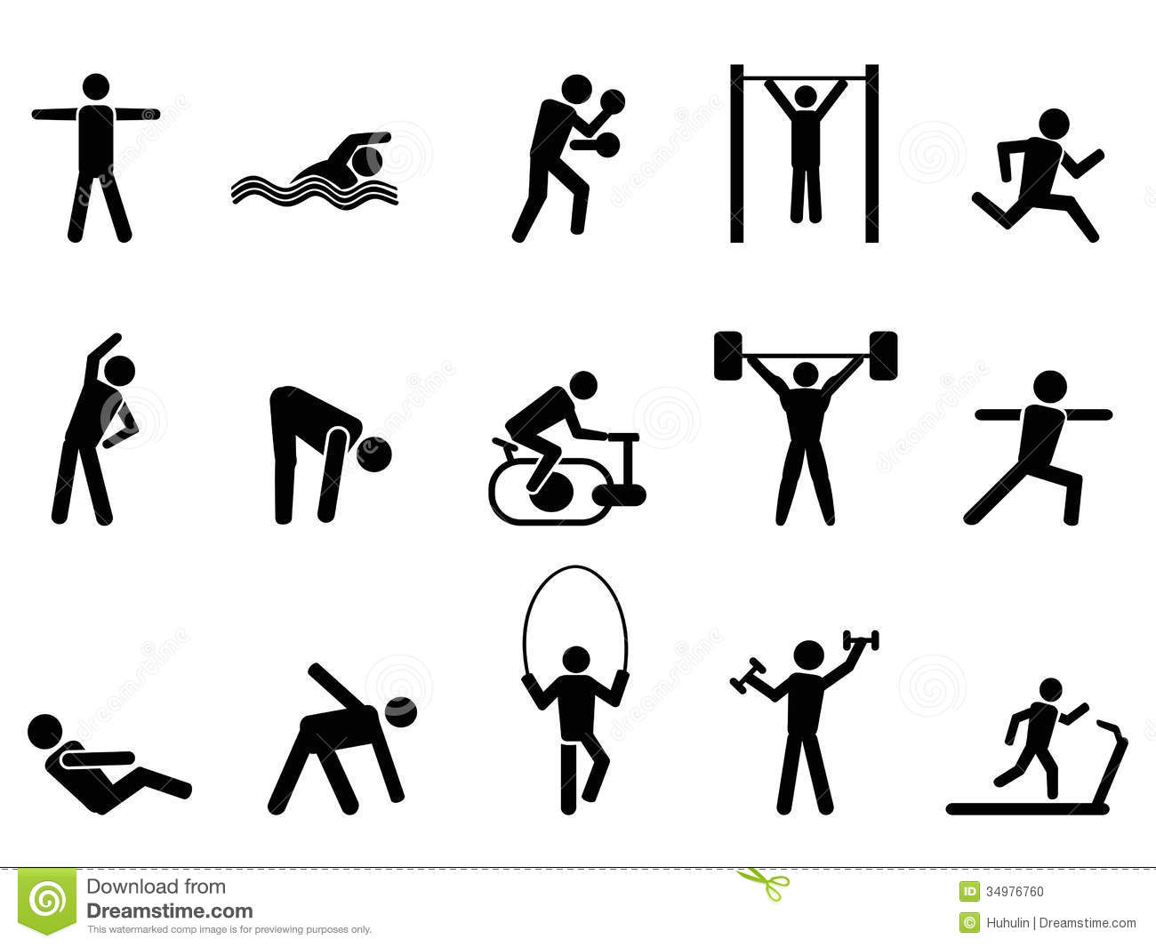 Black Fitness People Icons Set Stock Vector
