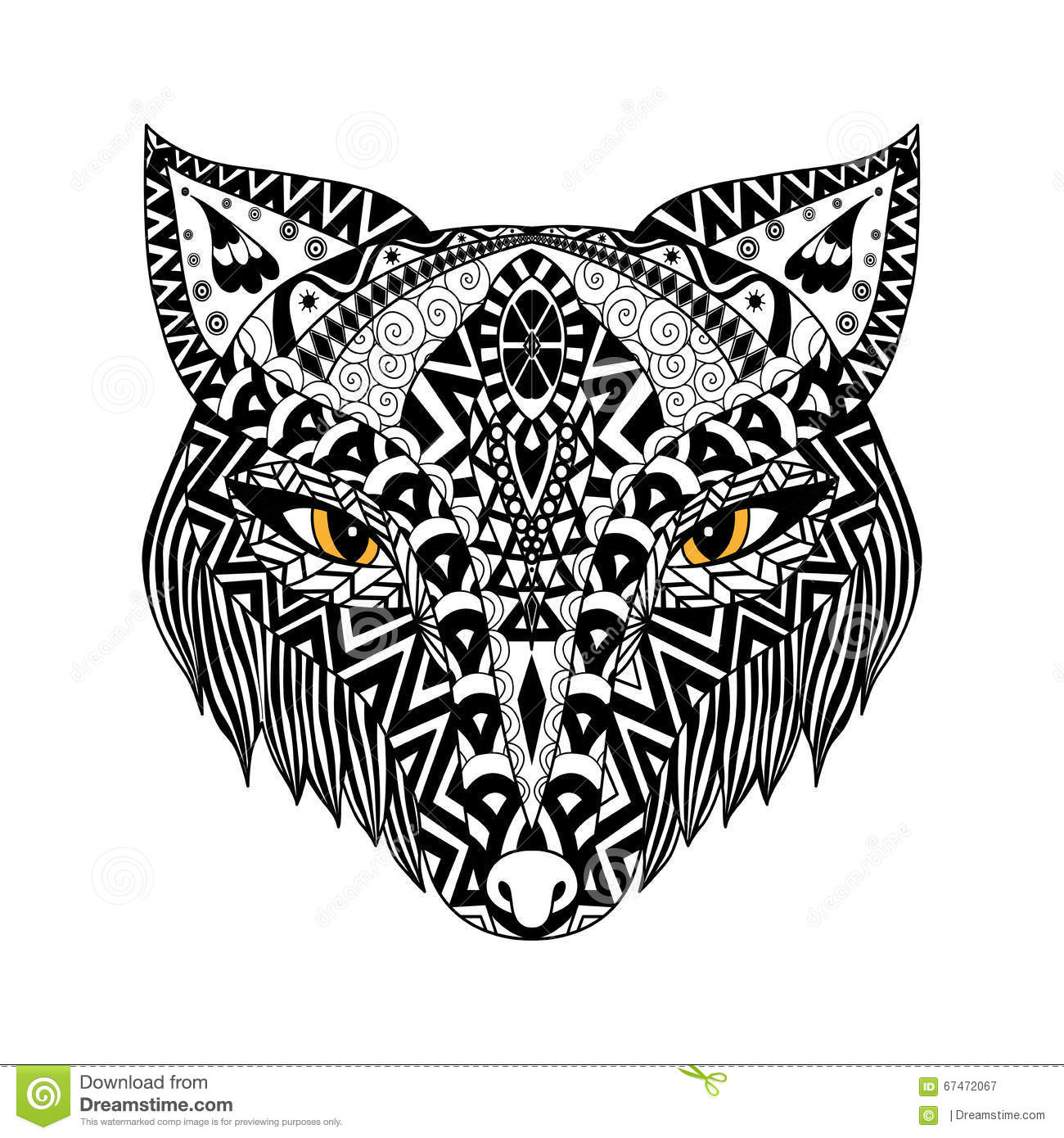 Black Fox Zentangle Style For T Shirt Or Print Or Coloring Book Stock Vector