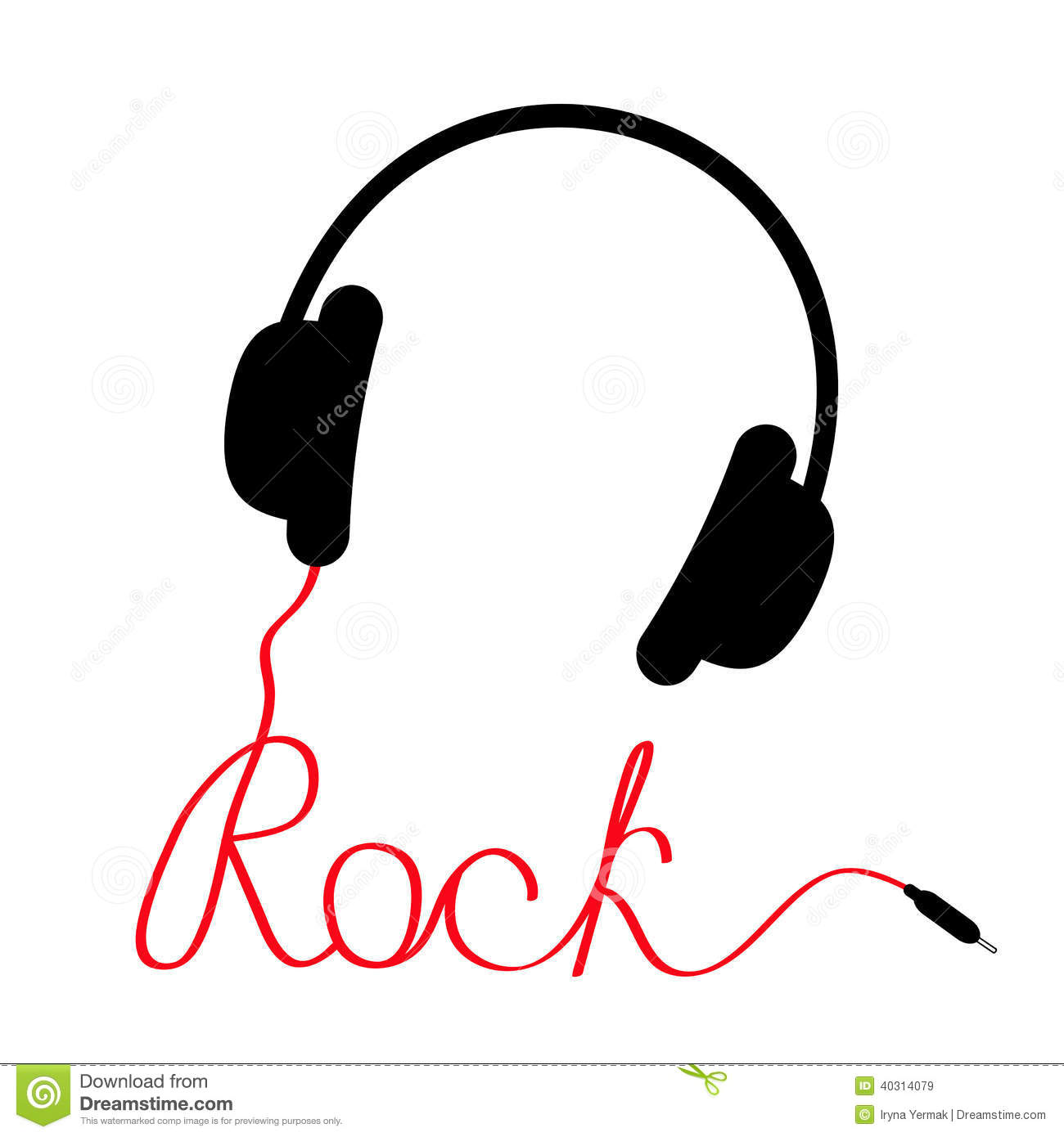 Black Headphones With Red Cord In Shape Of Word Rock