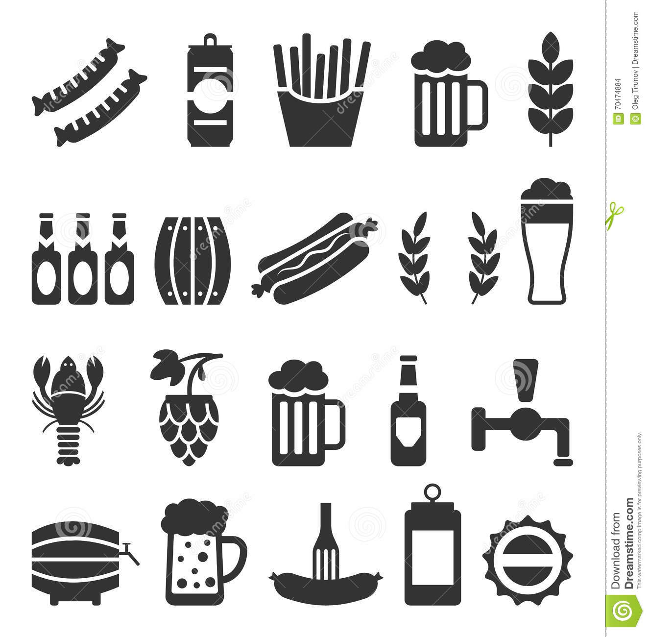 Black Icons Of Beer And Snacks On White Background Stock