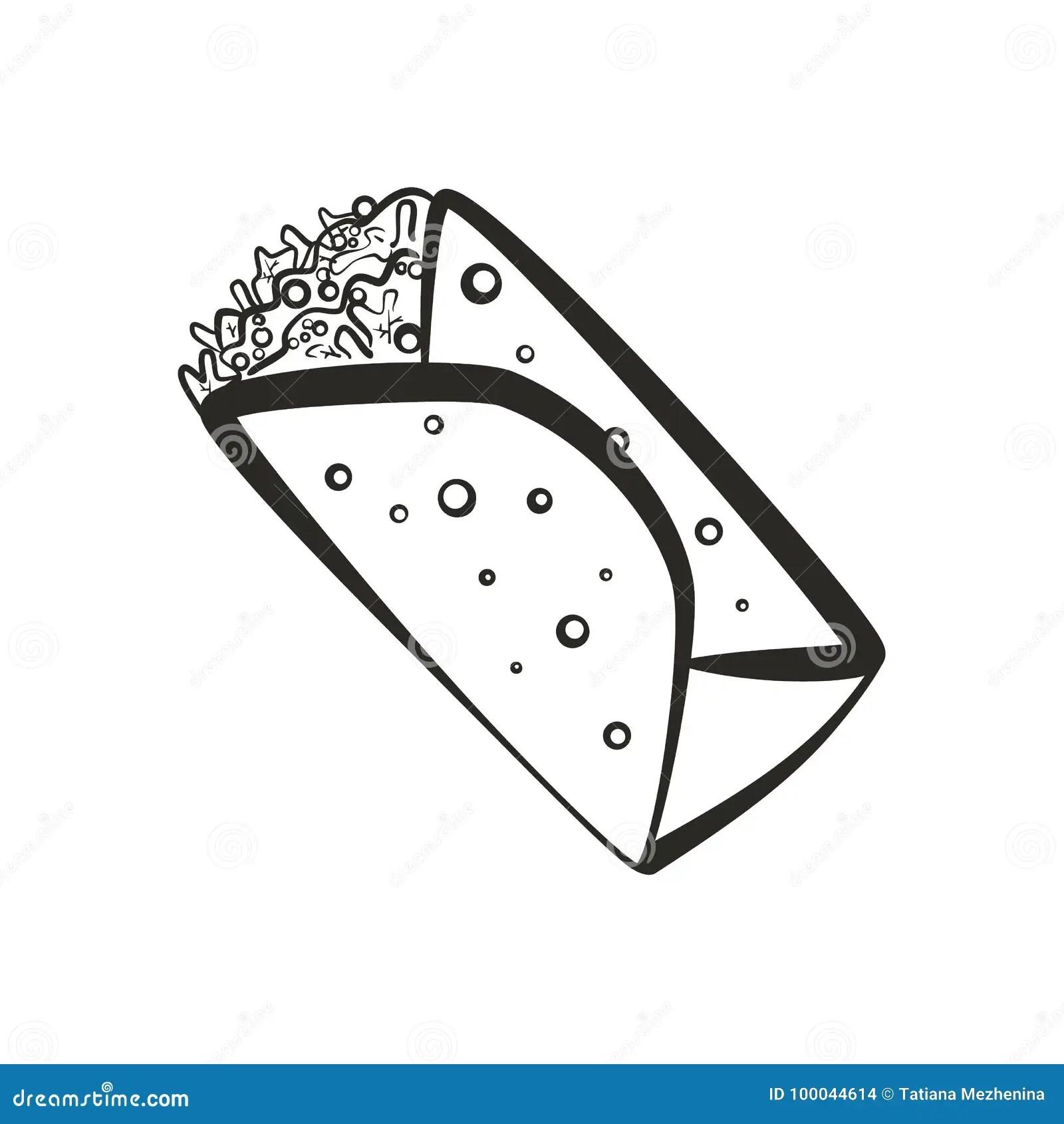 Black Isolated Outline Burrito Icon Stock Illustration