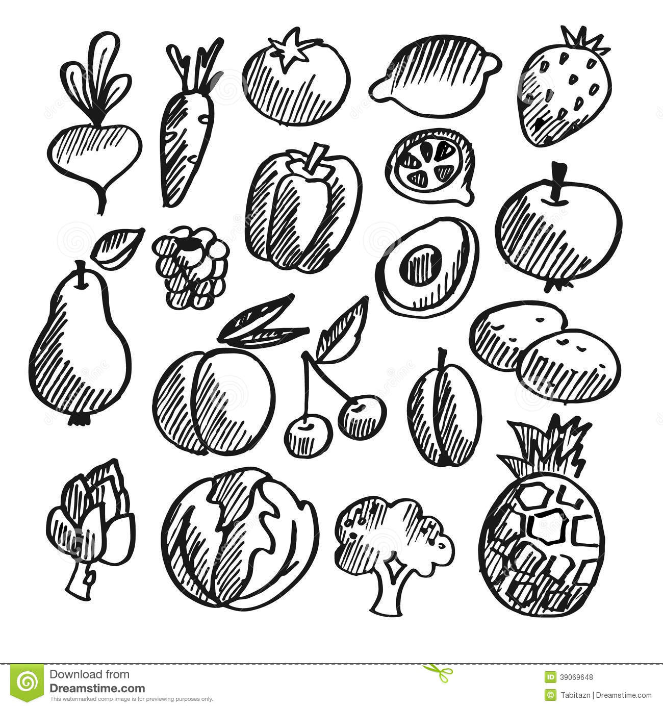 Black Isolated Vegetables Fruits Doodle Icons Stock