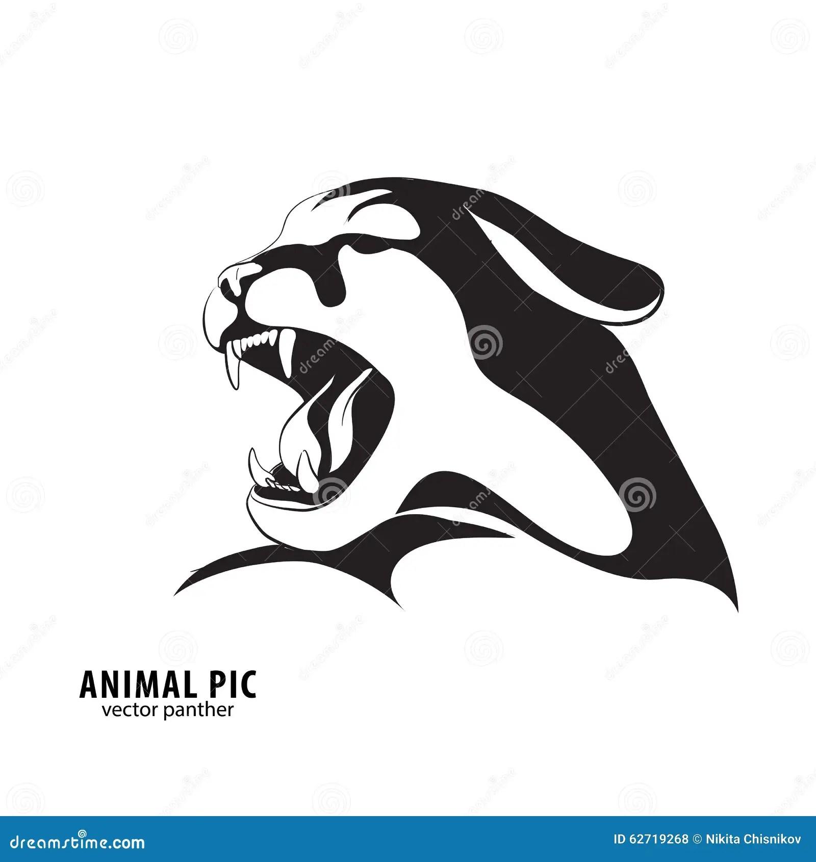 Black Leopard Silhouette Stock Vector