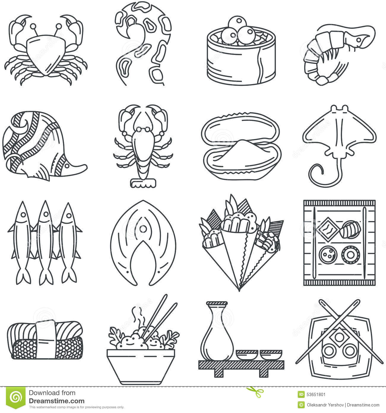 Black Line Icon Collection Of Sea Food Stock Illustration