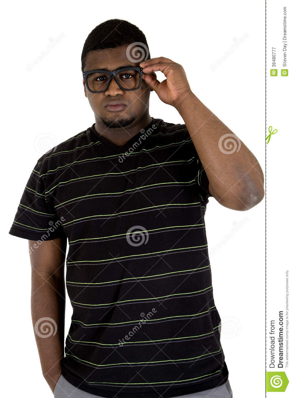 Black Male Model With A Casual Look Wearing Black Glasses