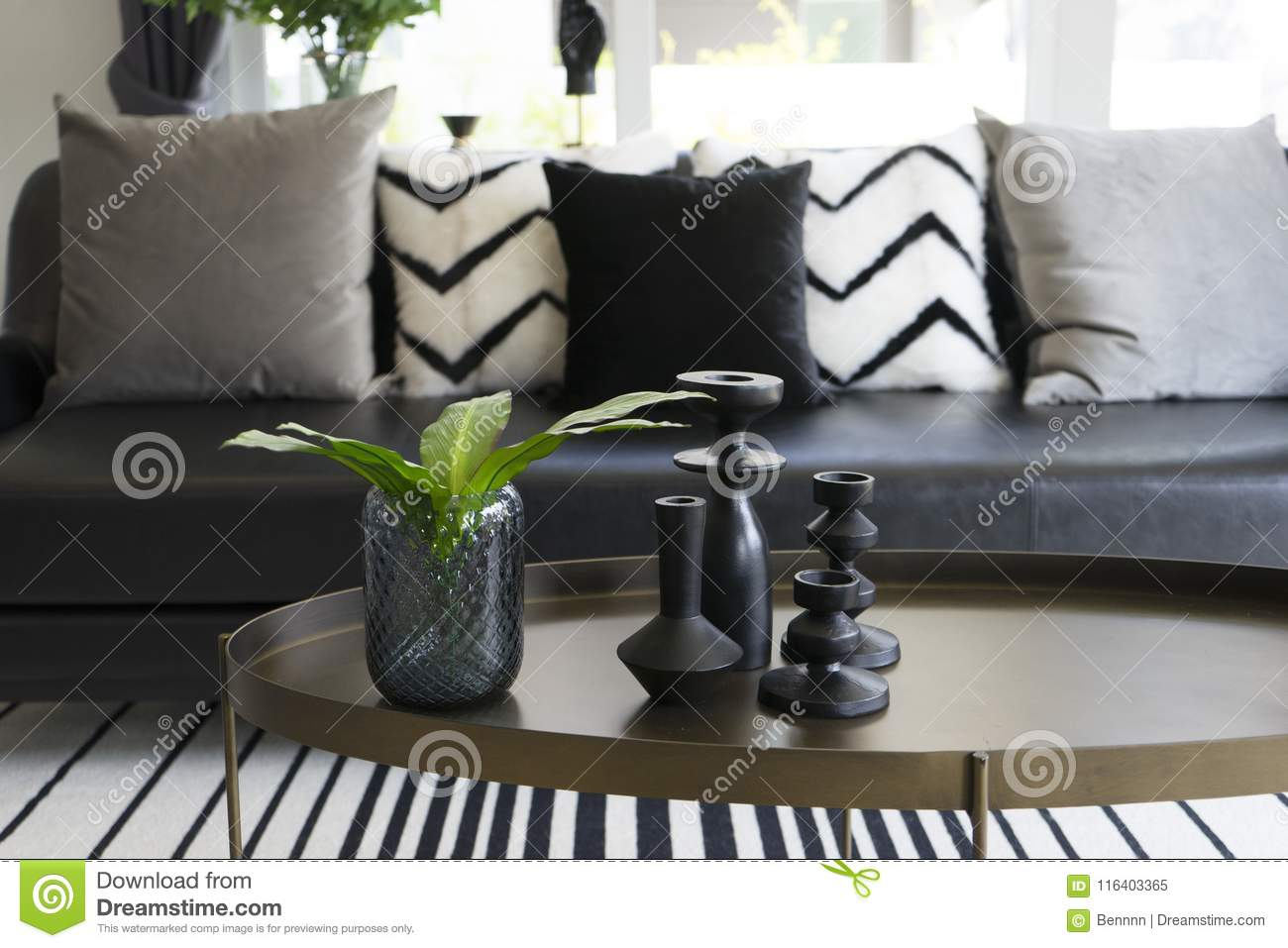 Modern Vase And Green Leaf On Center Table With Black And White Pillows On Sofa Stock Image Image Of Elegant Estate 116403365