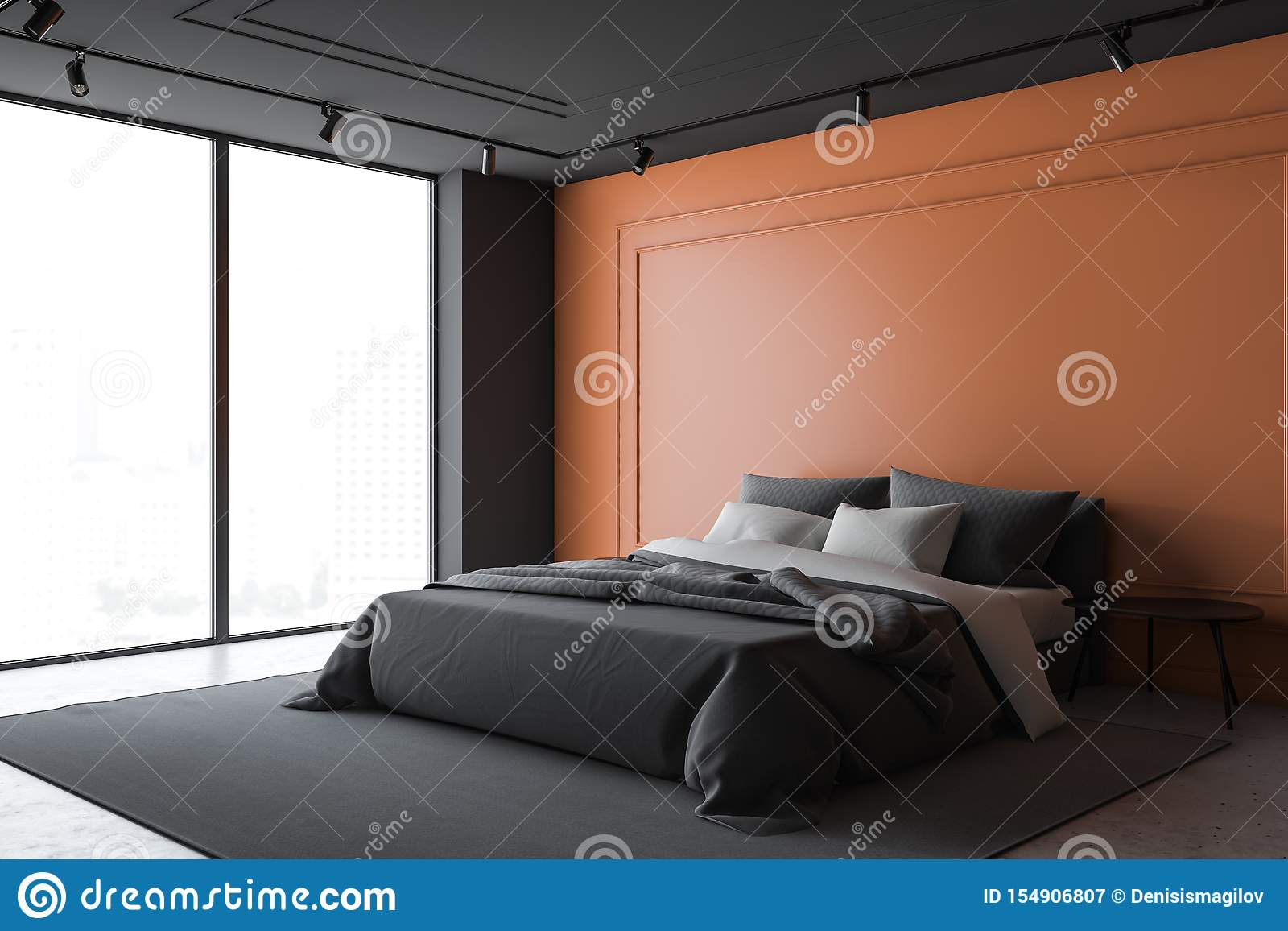 https www dreamstime com black orange master bedroom corner luxury walls concrete floor double bed standing gray carpet bedside table image154906807