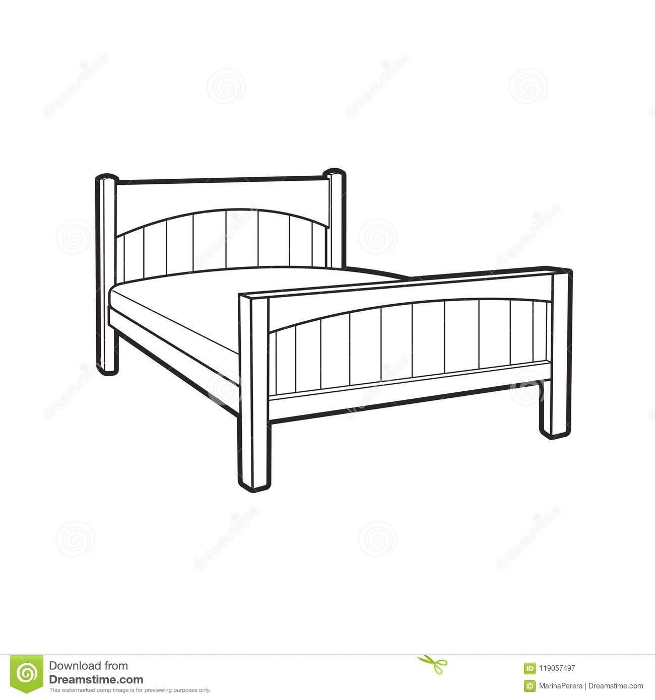 Black Outline Bed Isolated On White Stock Vector