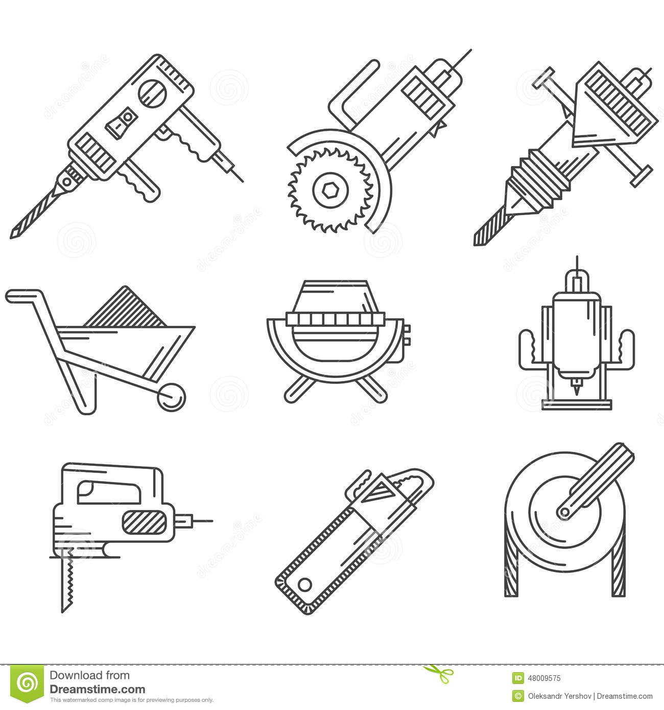 Black Outline Icons For Construction Equipment Stock Image