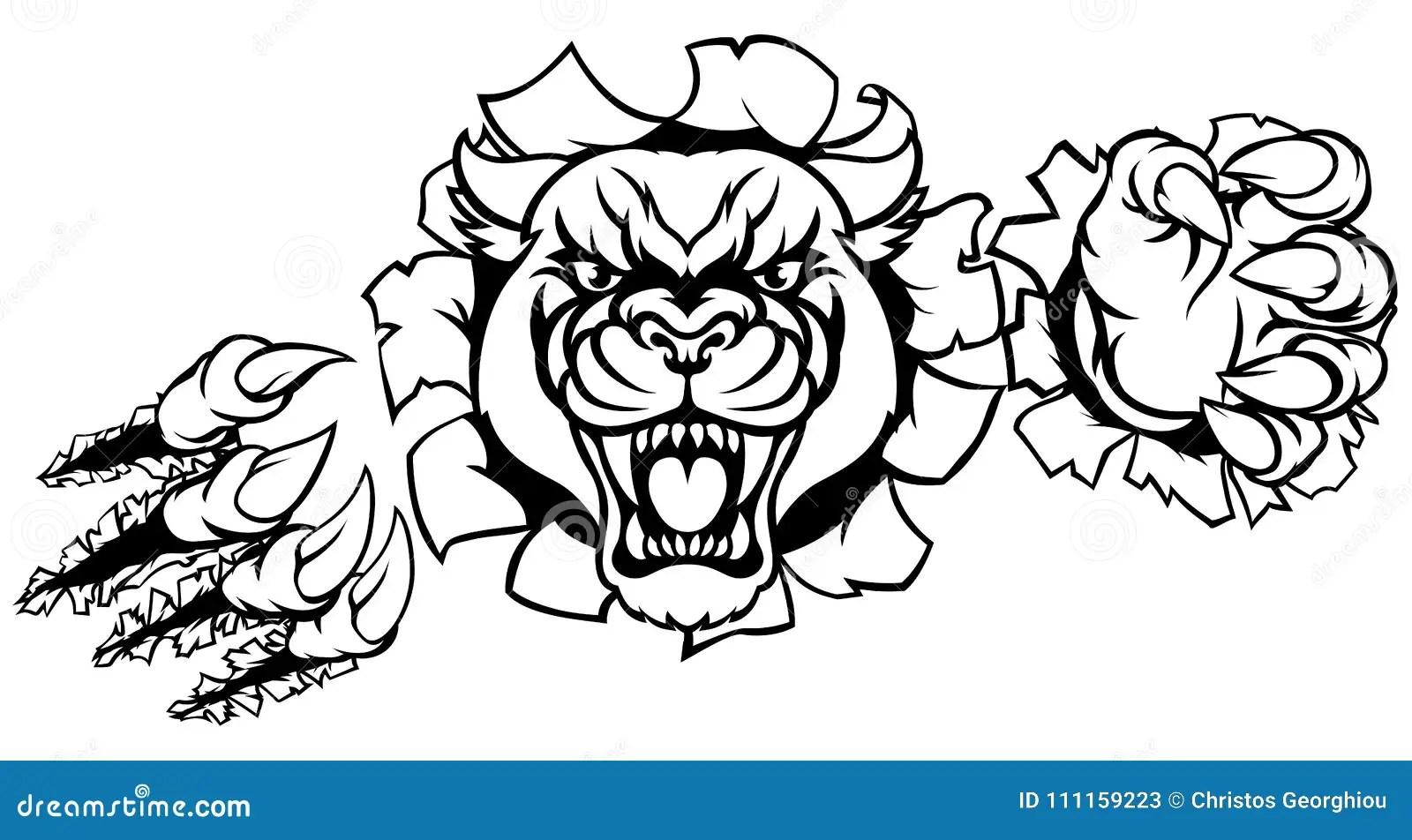 Black Panther Tiger Background Breakthrough Stock Vector