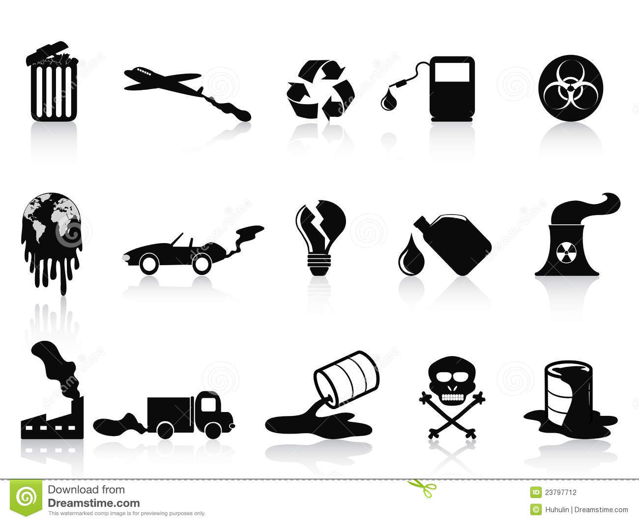 Black Pollution Icons Set Stock Vector Image Of Airplane
