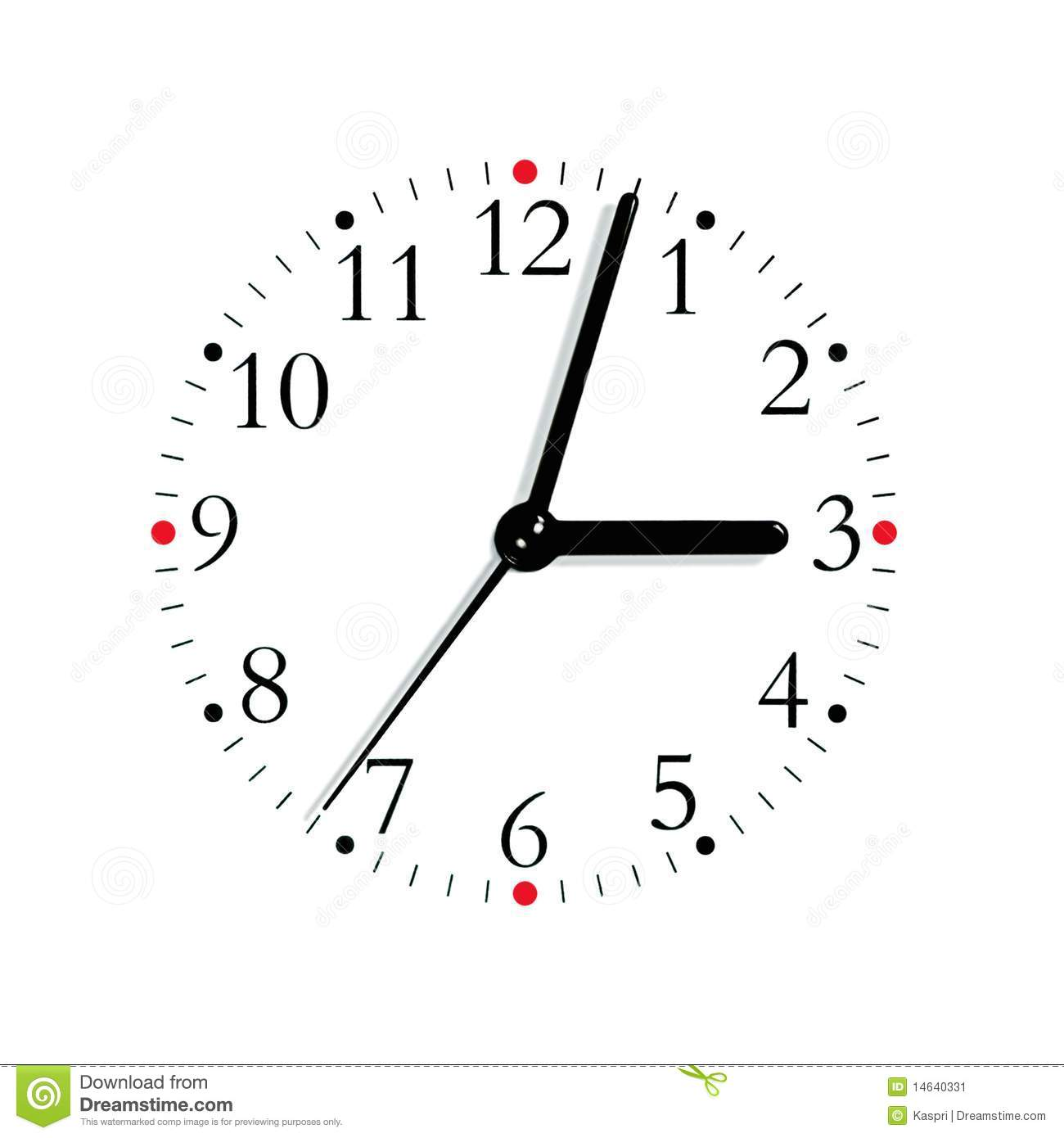 Black Red Whiteogue Clock Face 3 03 Isolated Stock
