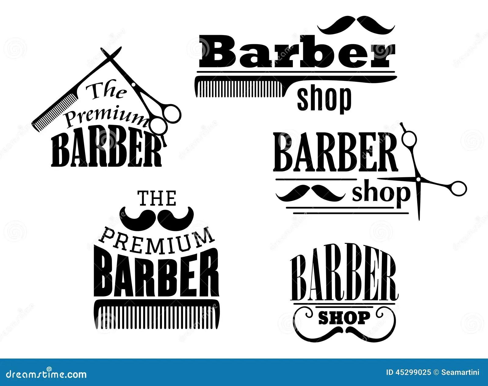 Black Retro Barber Shop Icons Stock Vector