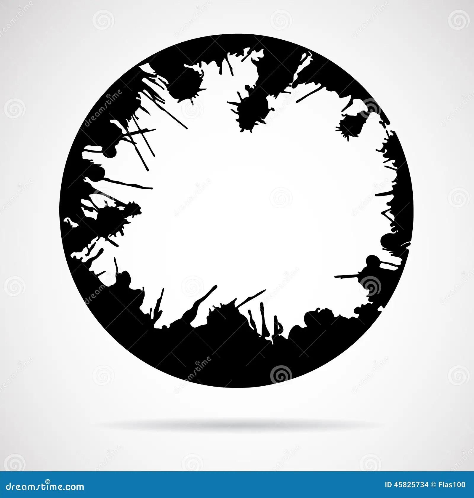 Black Round Brush Strokes Made Of Ink Splashes Stock