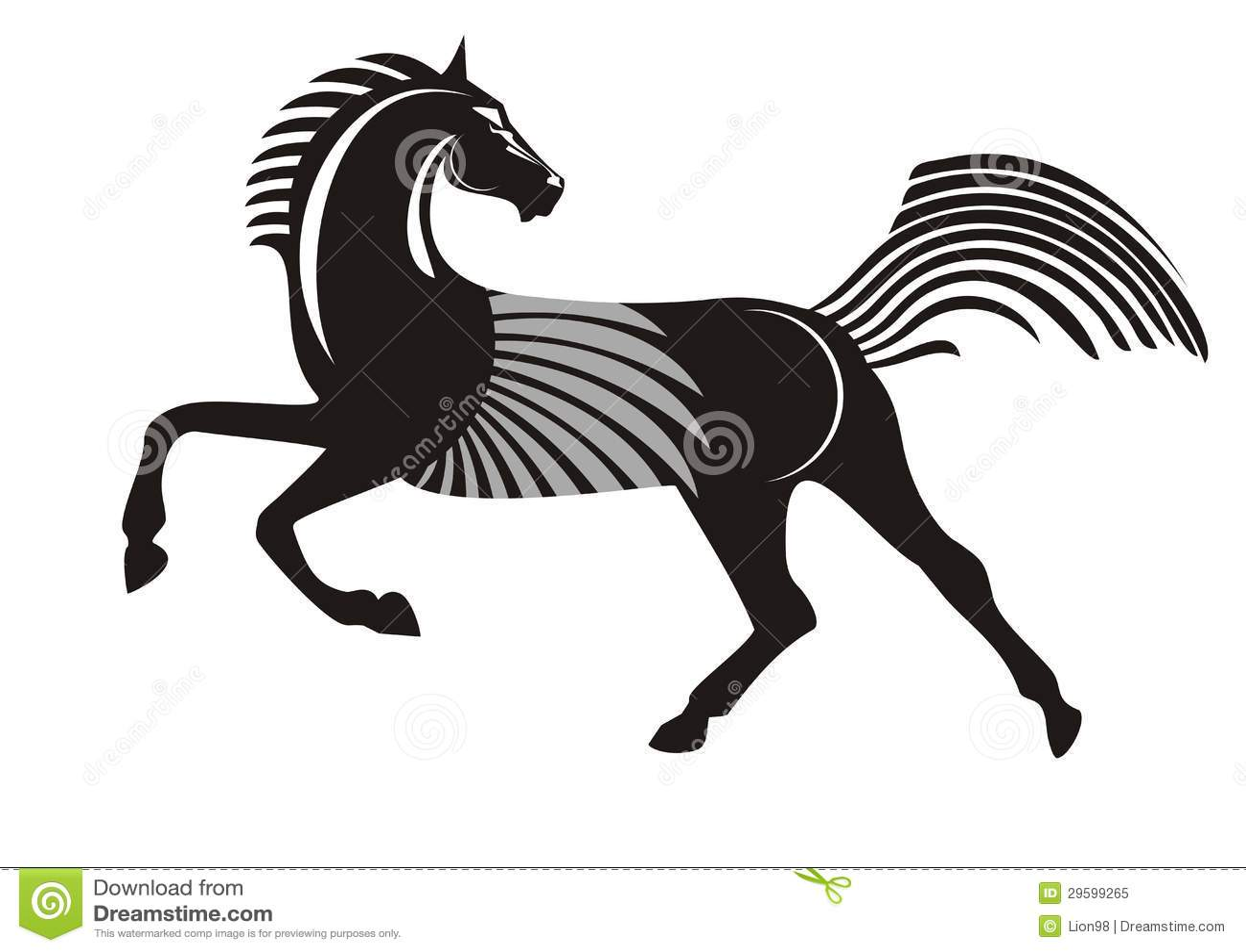 Black Running Horse Royalty Free Stock Photo