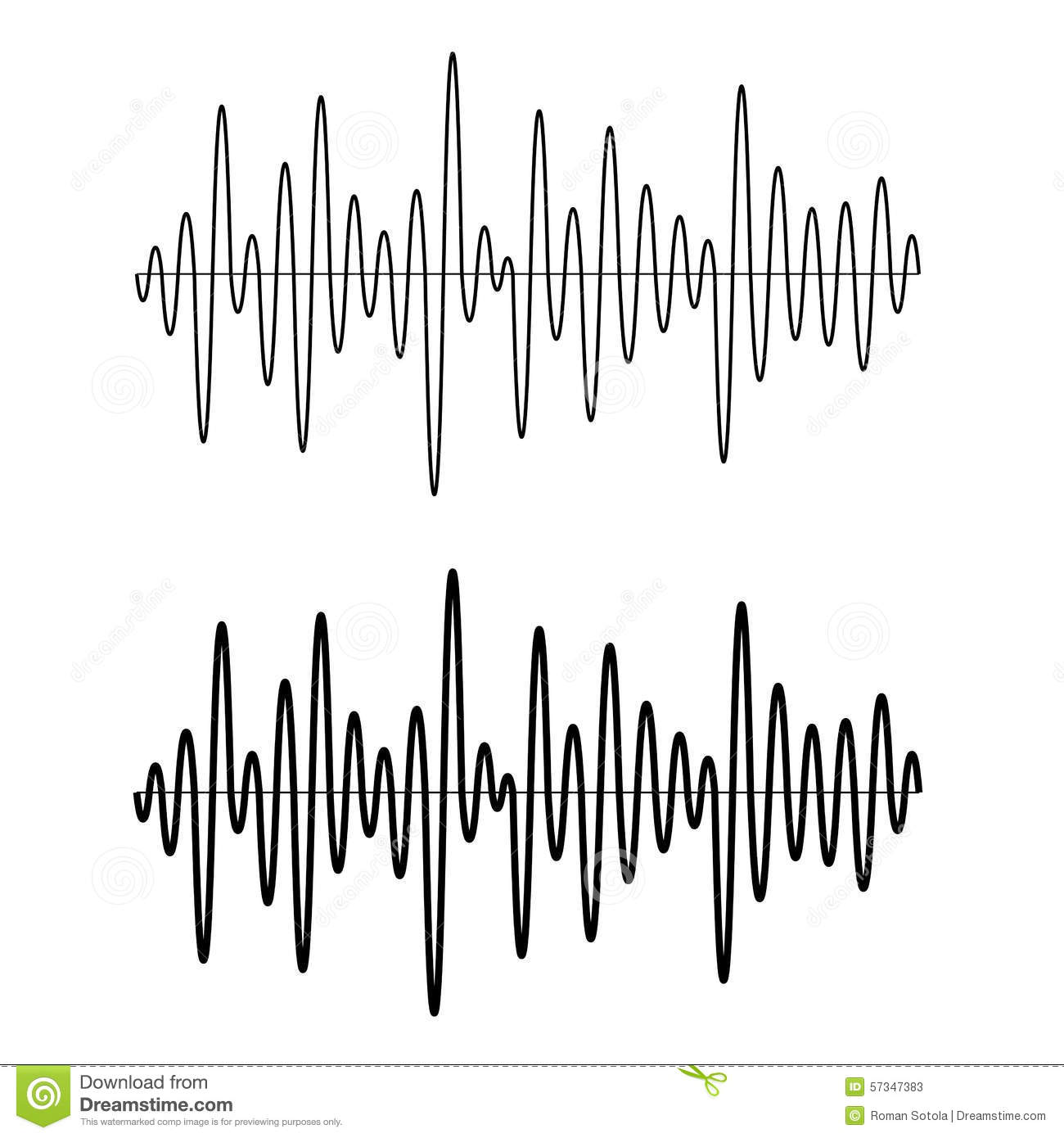 Black Seamless Sinusoidal Sound Wave Lines Stock Vector