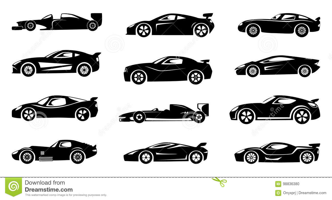 Black Silhouette Of Race Cars Sports Symbols Isolated