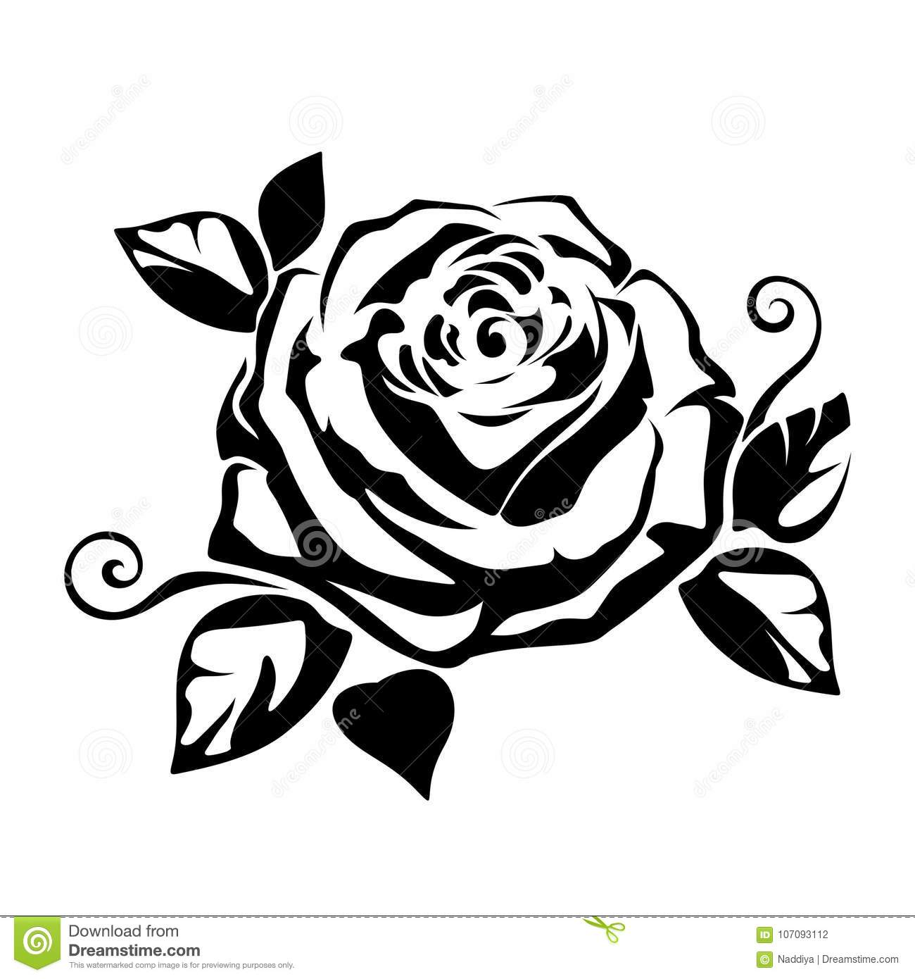 Black Silhouette Of A Rose Vector Illustration Stock