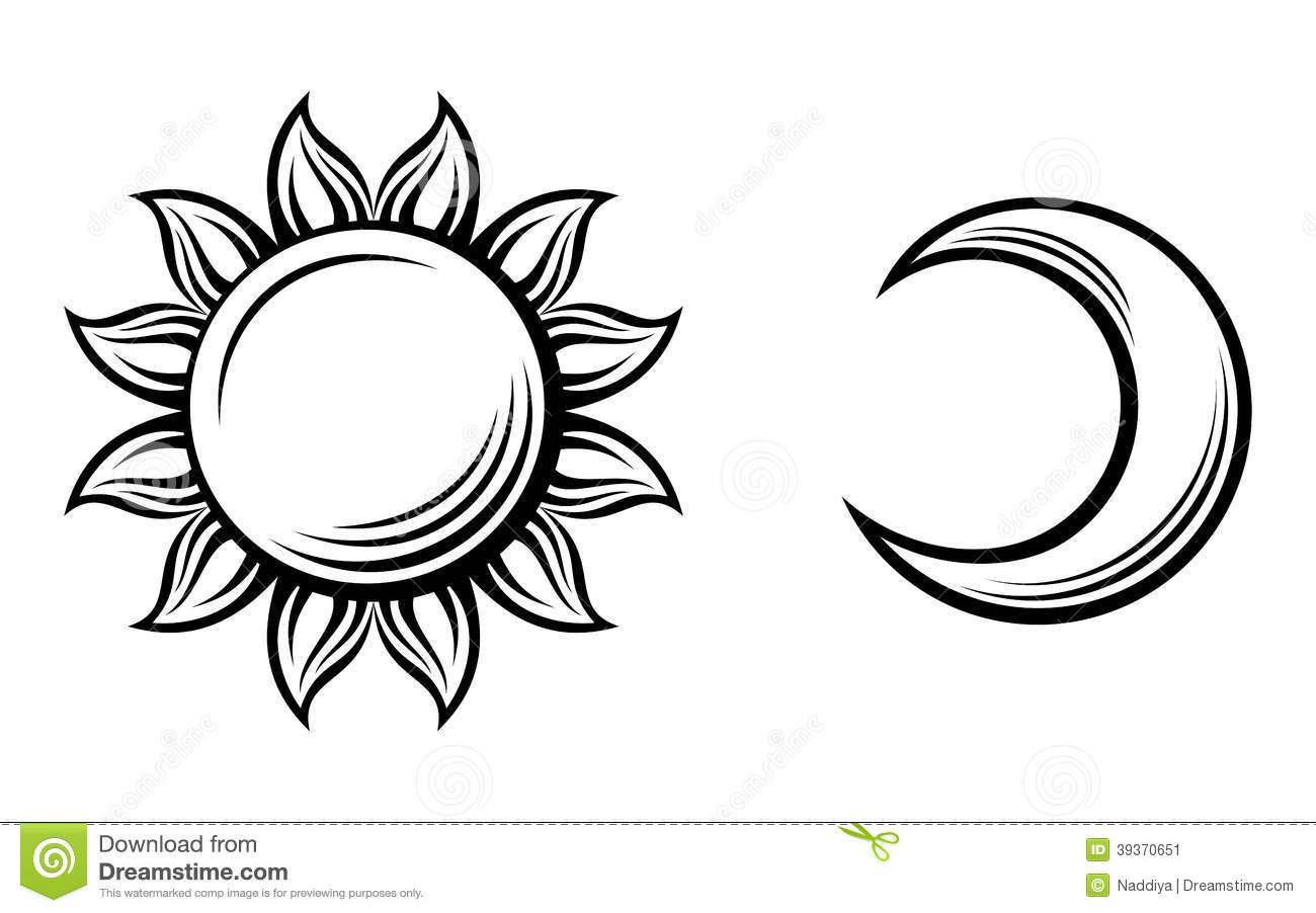Black Silhouettes Of The Sun And The Moon Vector Stock