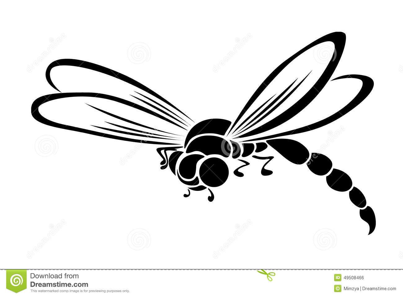 Black Stylized Dragonfly Flying Insect Stock Vector