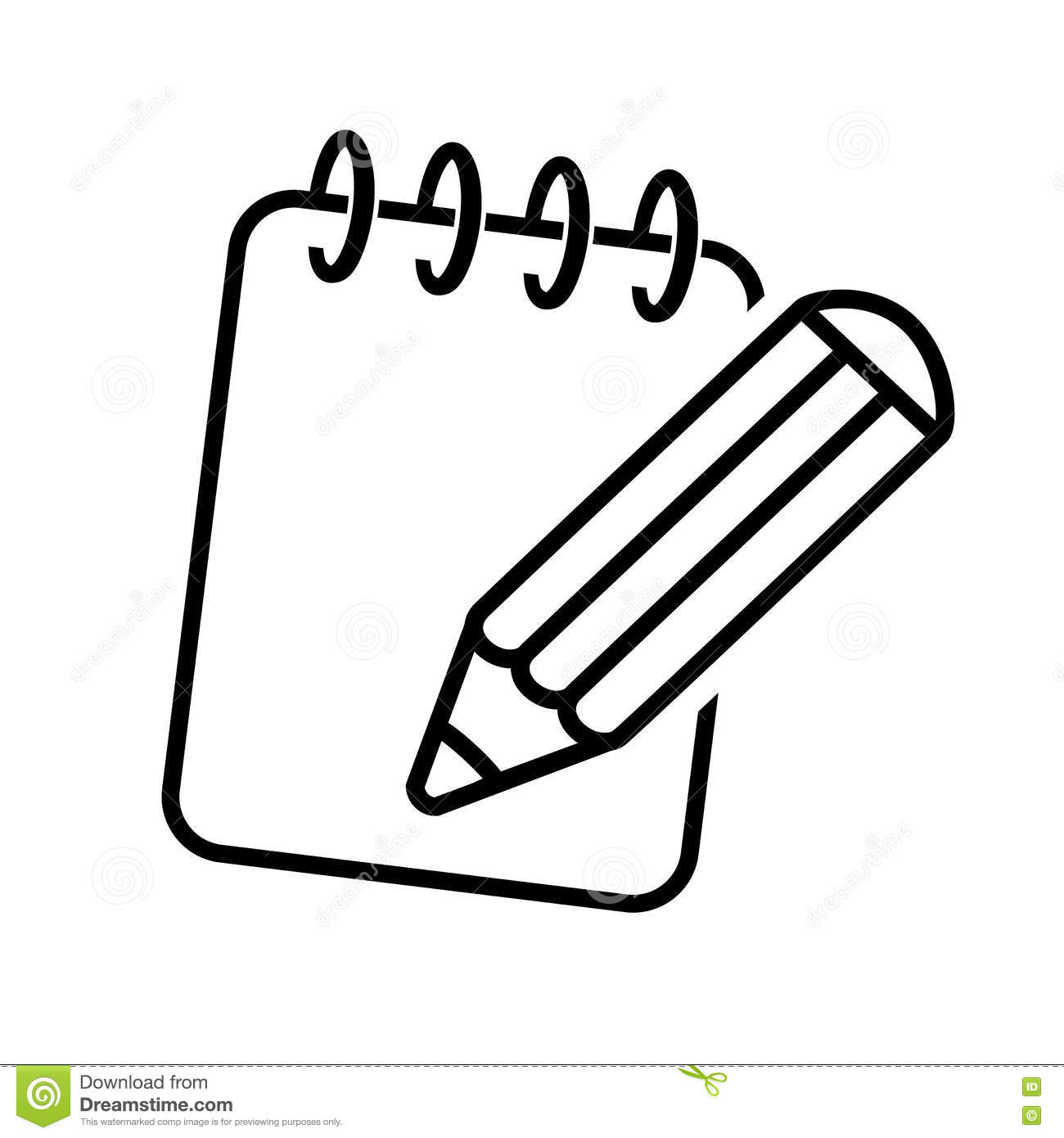 Black Symbol Of Notepad Icon Of Pencil With Writing Pad