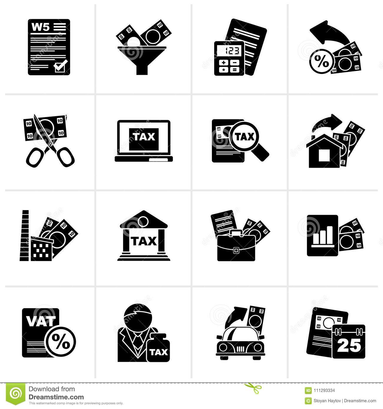 Black Taxes Business And Finance Icons Stock Vector