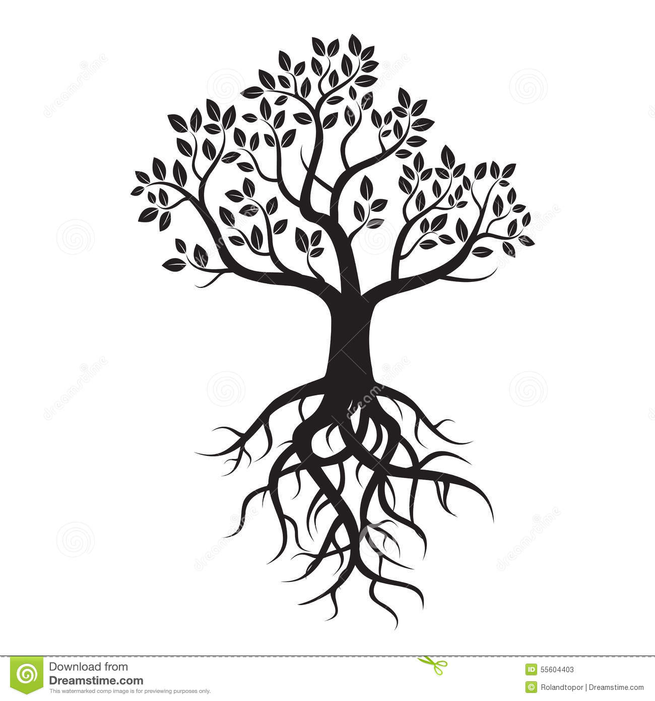 Black Tree And Roots Stock Illustration