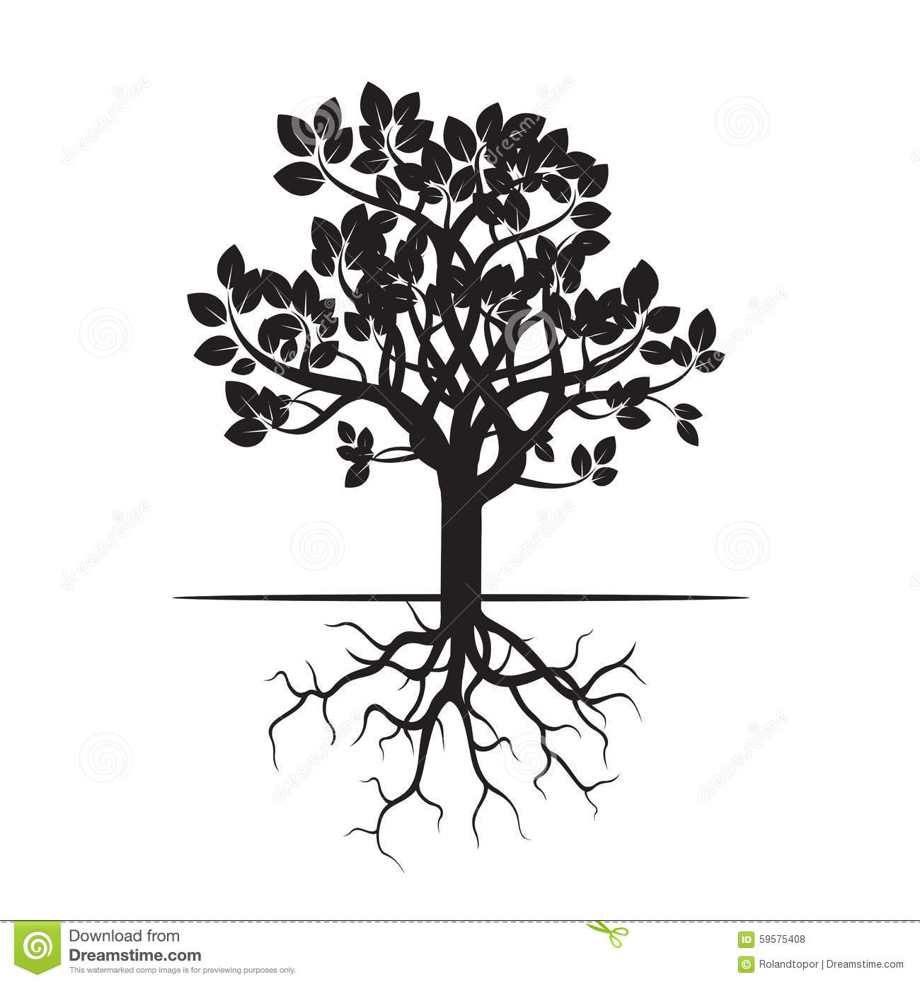 Black Tree And Roots Stock Illustration Illustration Of