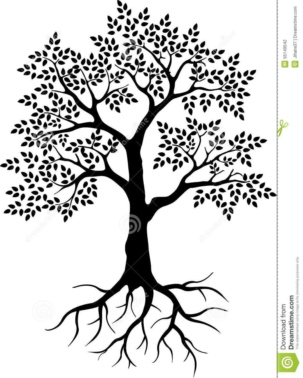 Black Tree Silhouette For Your Design Stock Illustration