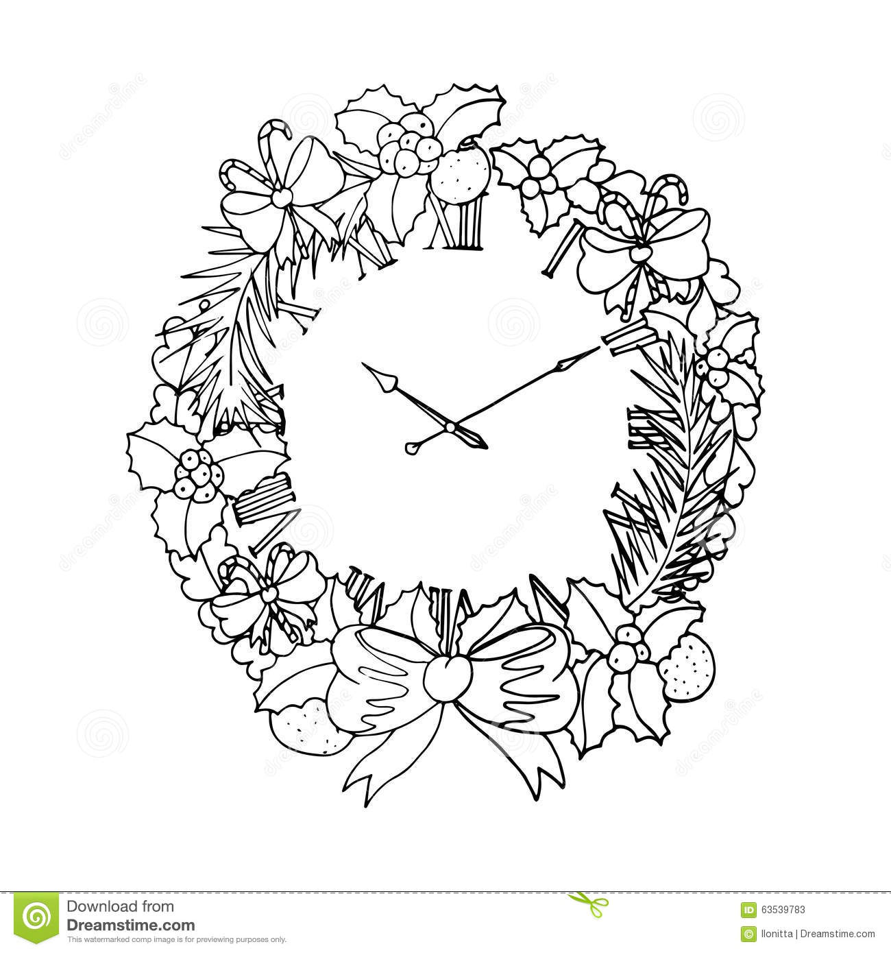 Black Vector Mono Color Illustration With Christmas Wreath