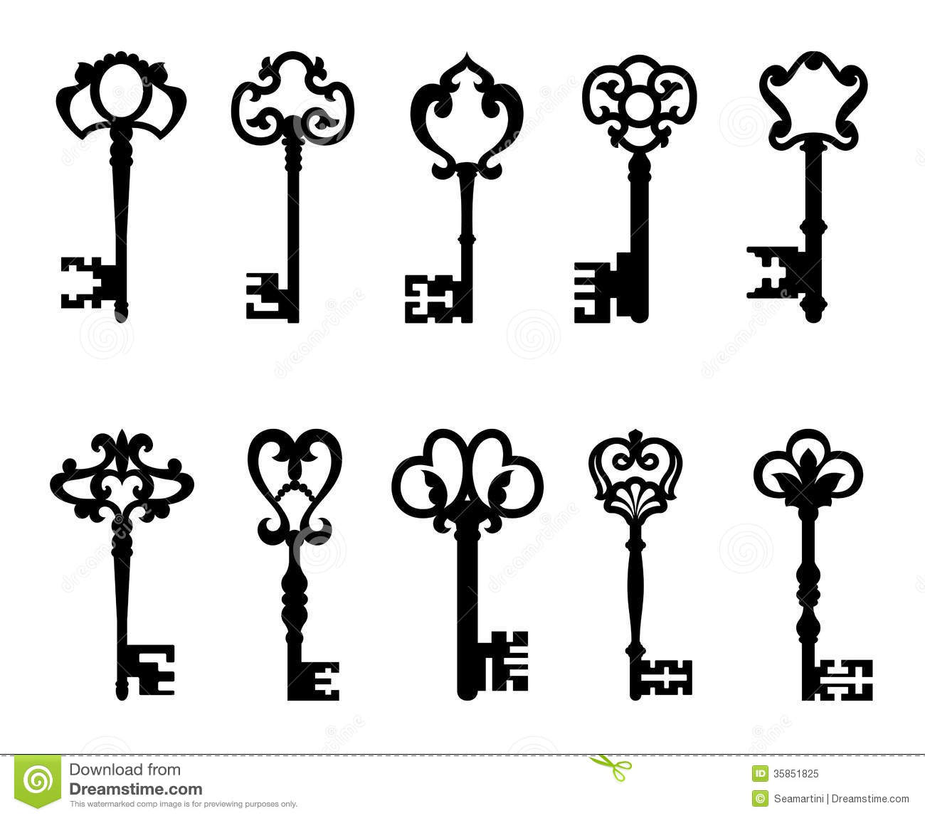 Black Vintage Keys Set Stock Vector Illustration Of