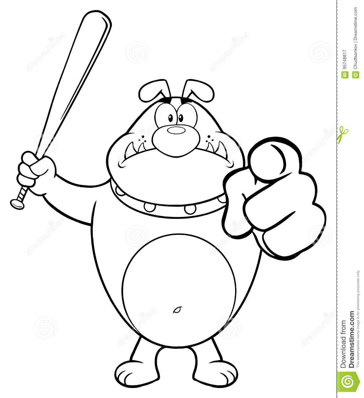 Black And White Angry Bulldog Cartoon Mascot Character