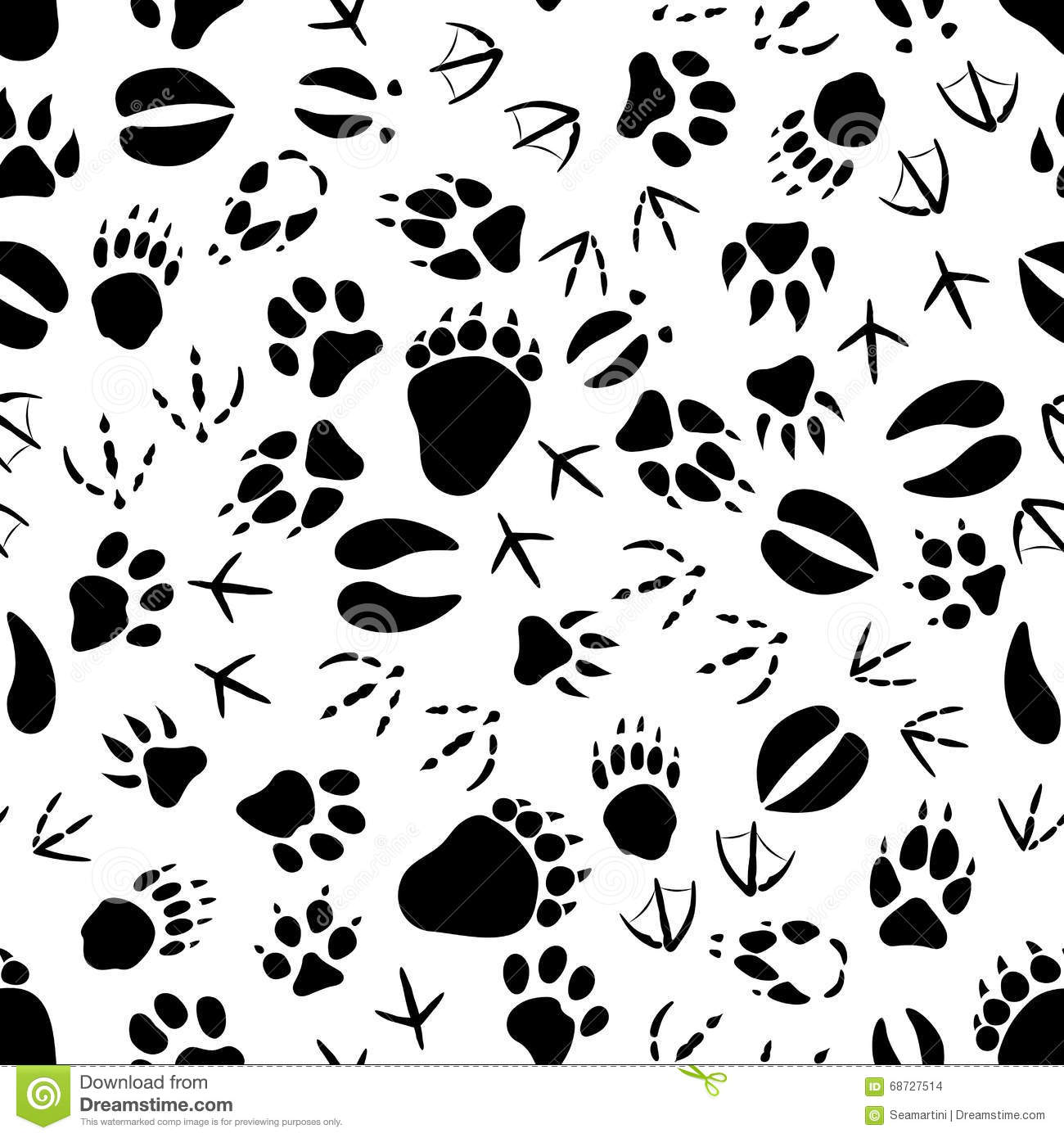 Black And White Animal Tracks Pattern Stock Vector