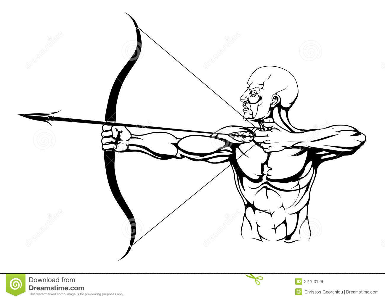 Black And White Archer Illustration Stock Vector