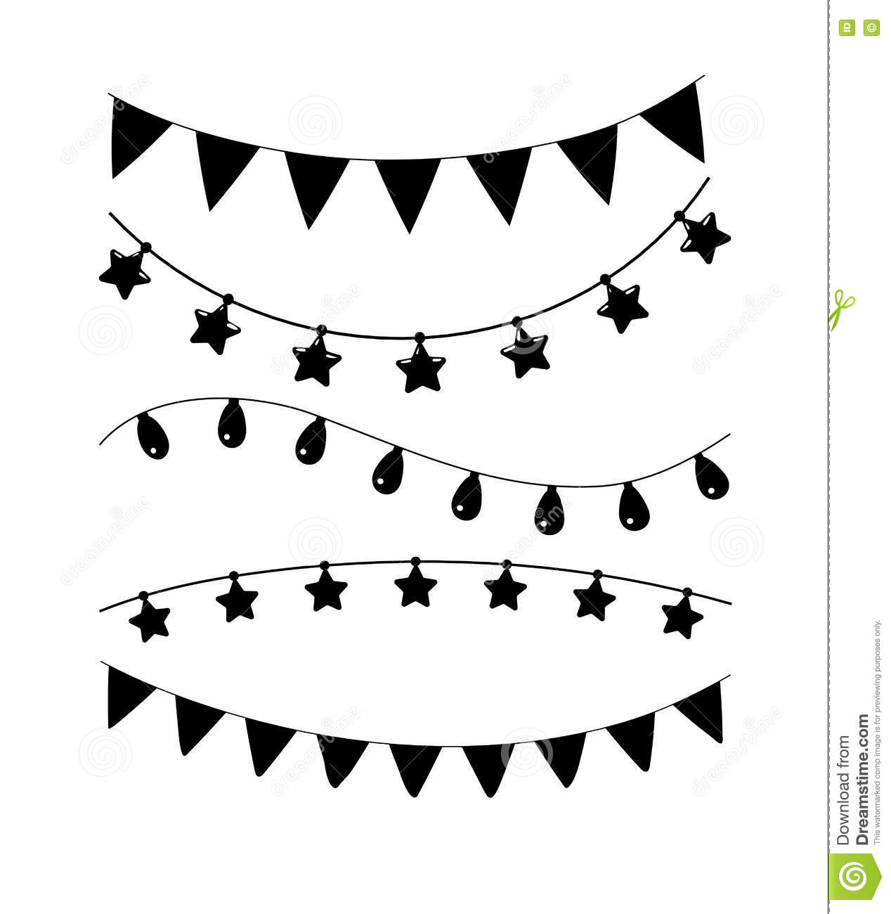 Black And White Birthday Party Vector Decoration Garland