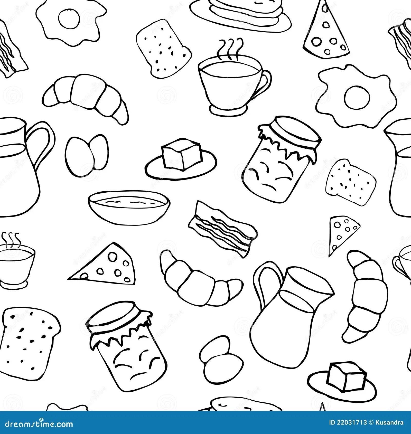 Black And White Breakfast Theme Stock Vector