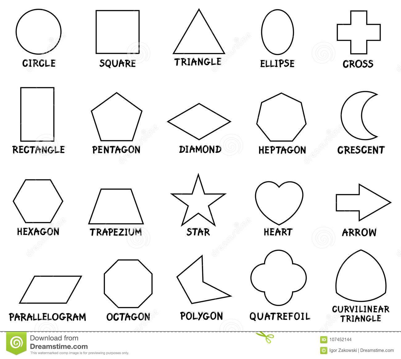 Education Basic Geometric Shapes With Captions Stock