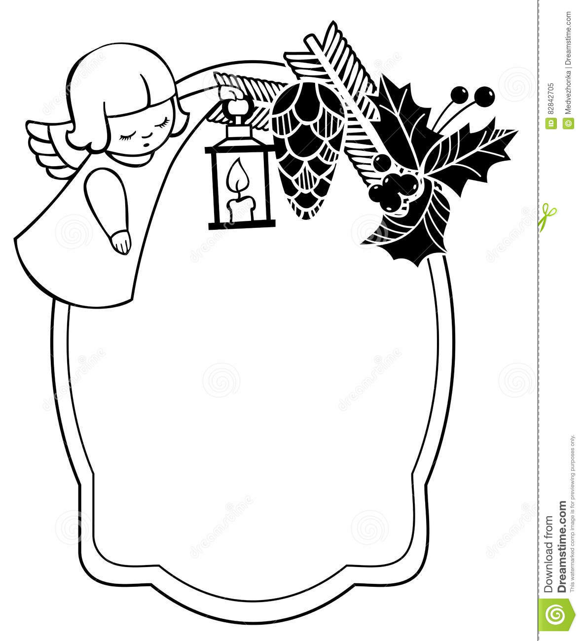 Black And White Christmas Frame With Cute Angel Stock