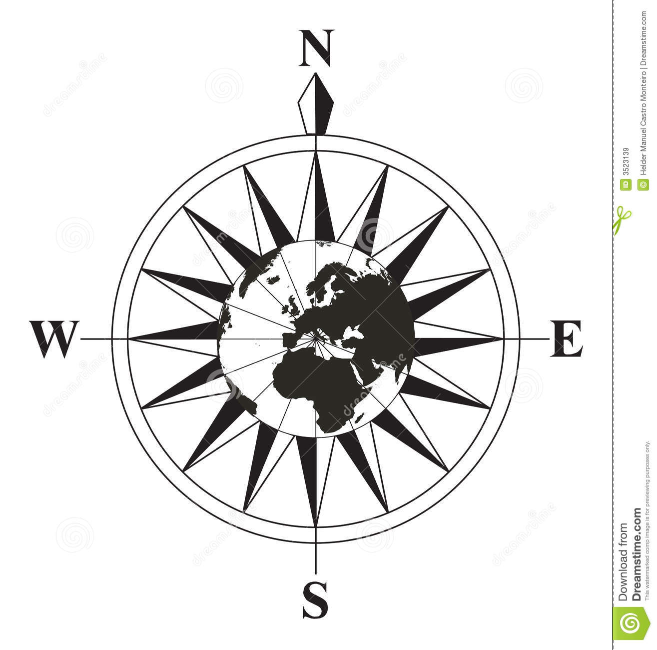 Black And White Compass Stock Vector Illustration Of