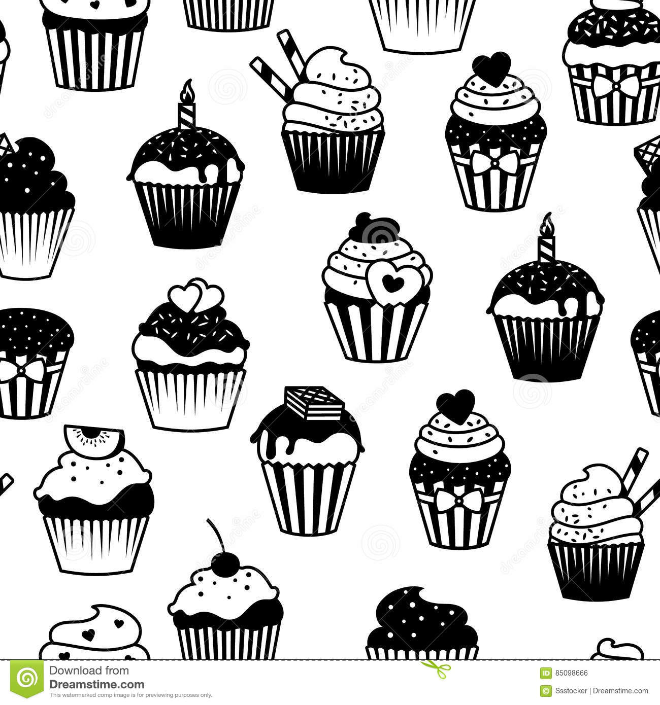 Black And White Cupcakes Seamless Pattern Stock Vector