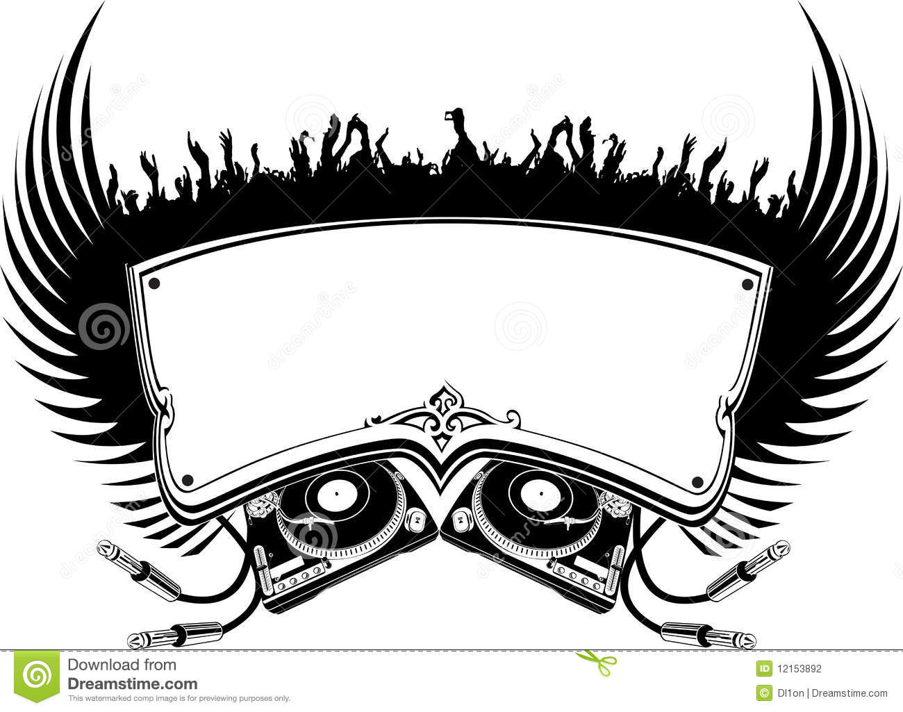 Black And White Dj Flayer Stock Vector Illustration Of