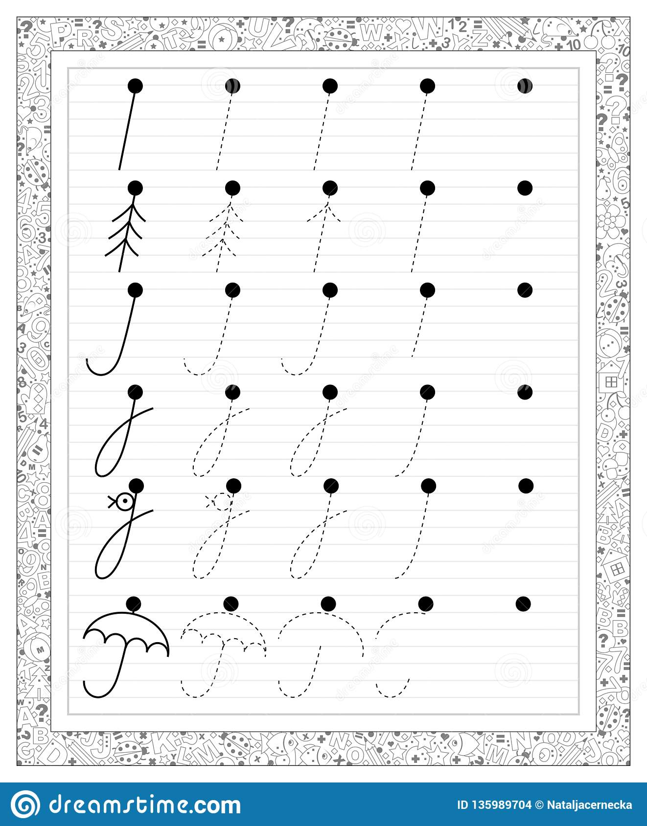 Black And White Educational Page With Tracing Exercises In