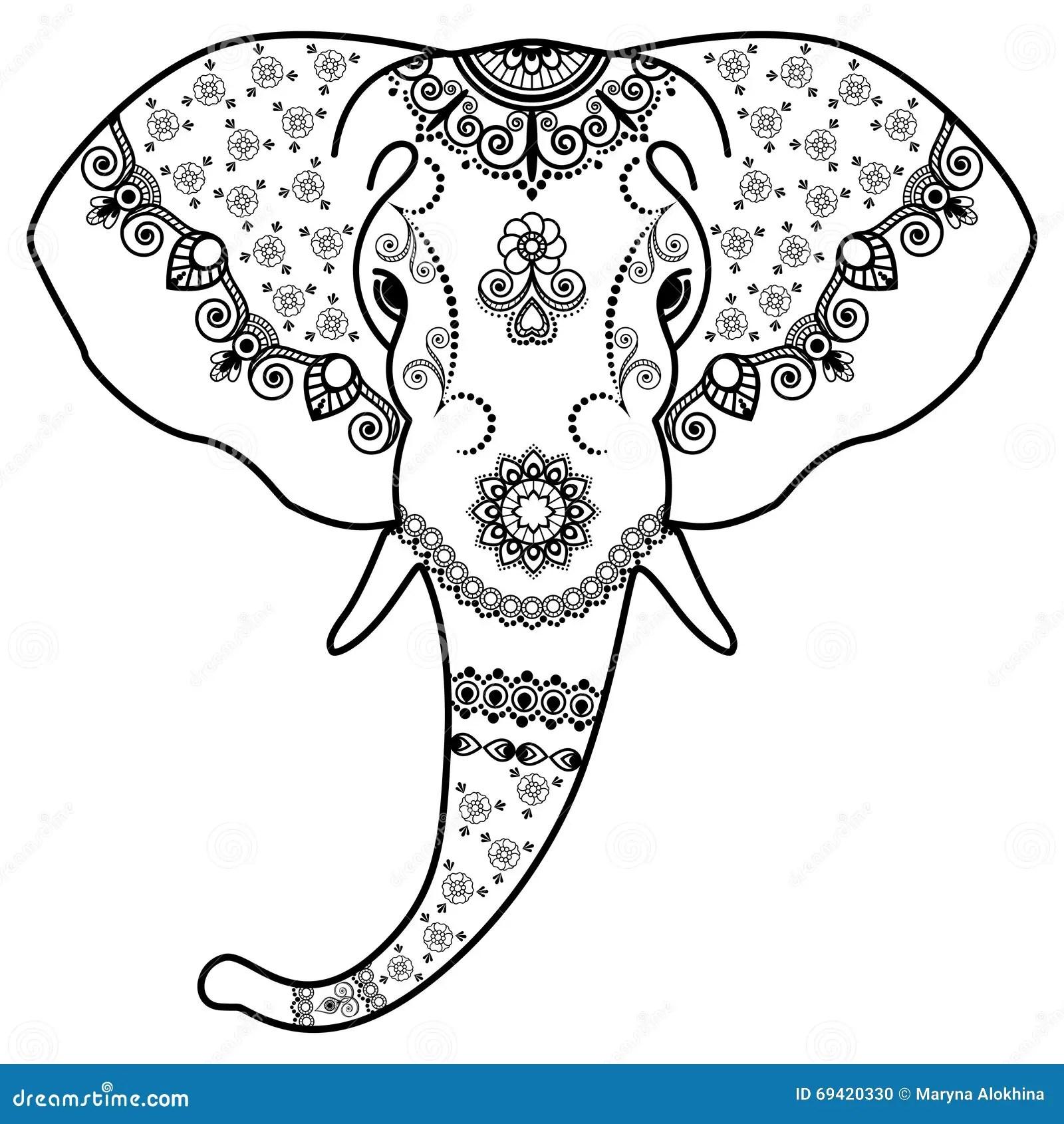 Indian Elephant Head Vector Illustration