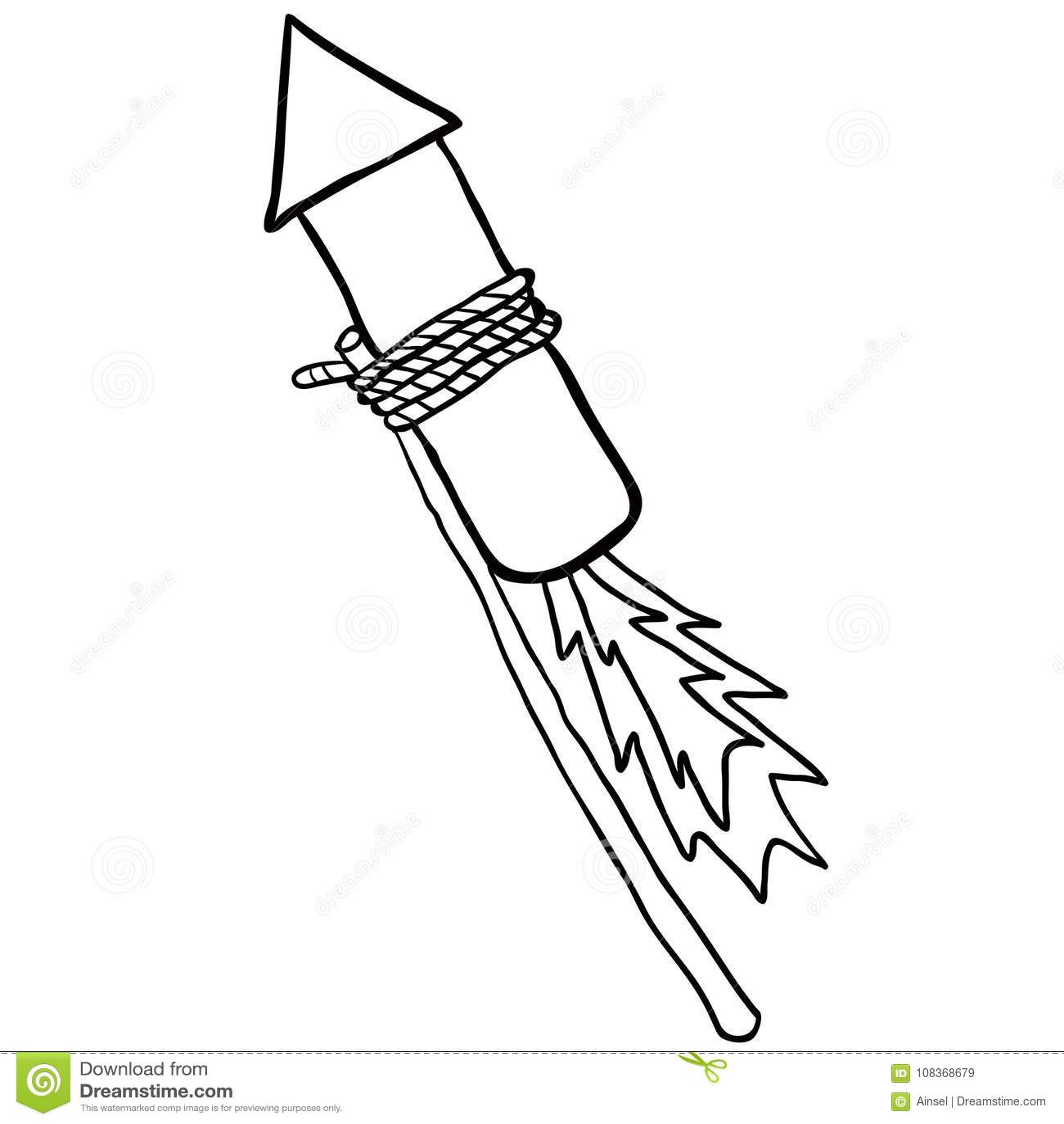 Black And White Firework Rocket Stock Illustration